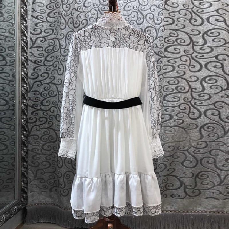 Alta qualidade designer vestido 2019 outono inverno sexy party club feminino oco para fora rendas retalhos manga longa vestido branco - 2