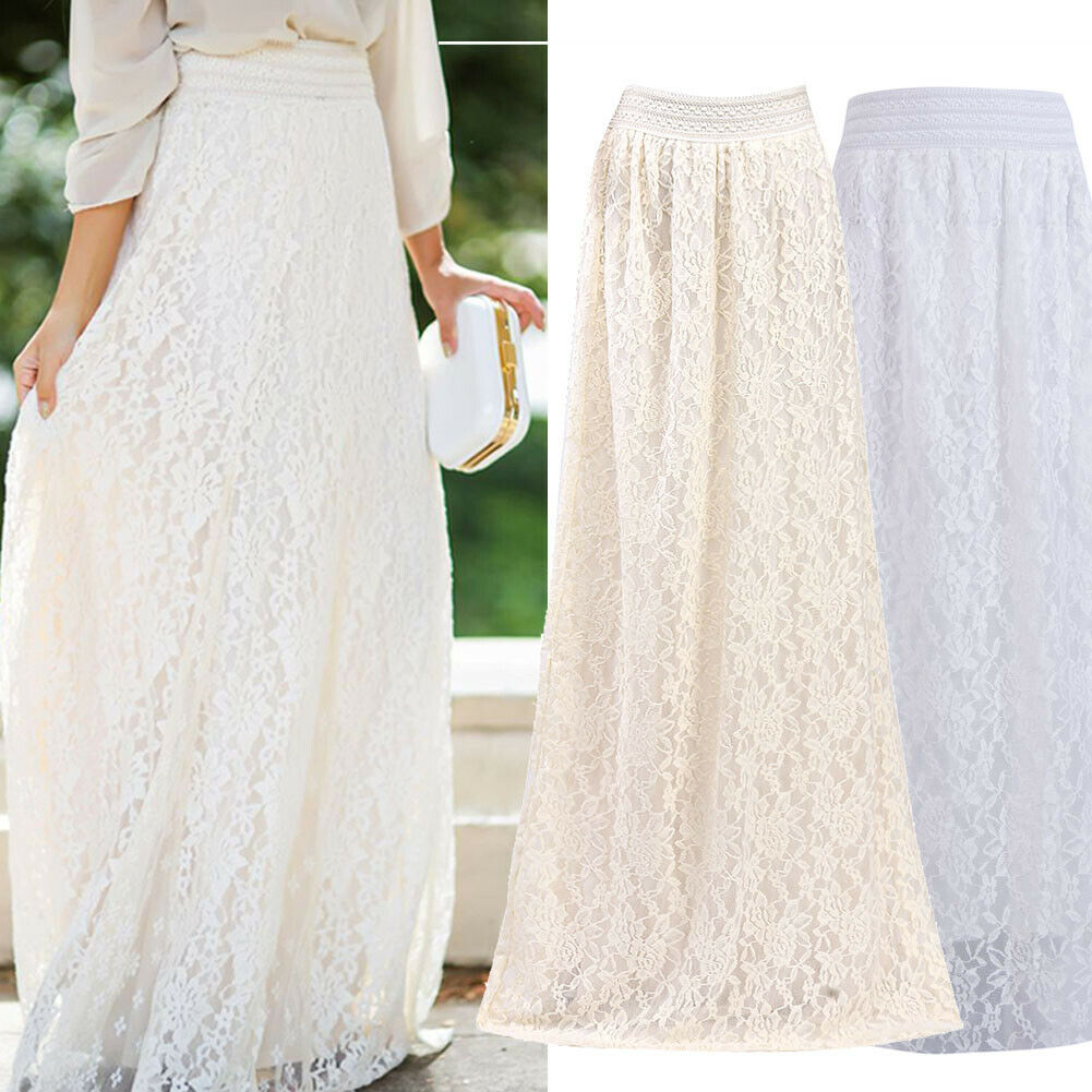 Fashion White Silver High Waist Party Wear Maxi Female Pleated Skirts New Style Womens Ladies Long Summer Skirt 2019 Hot Sale