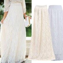 Fashion White Silver High Waist Party Wear Maxi Female Pleat