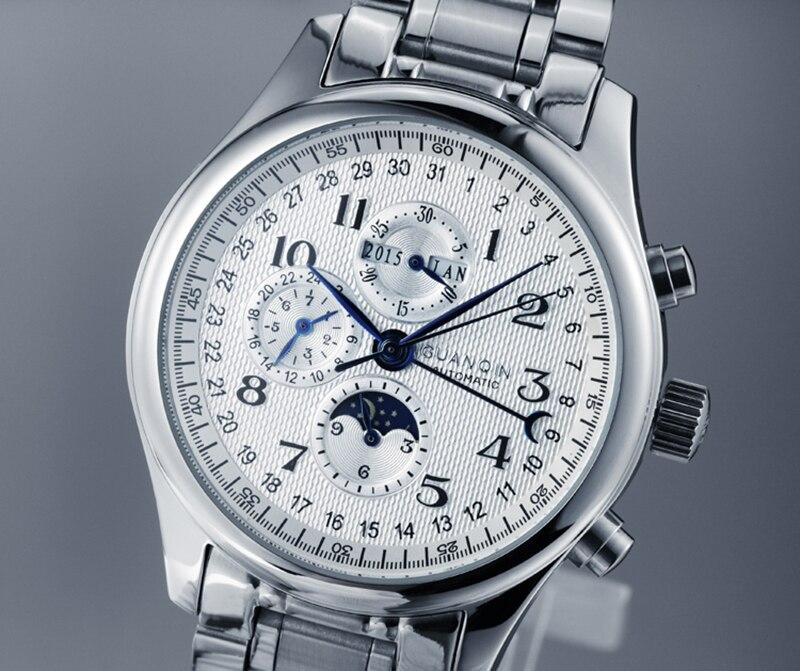 Guanqin automático relógios mecânicos masculinos marca de