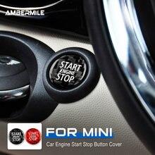 AMBERMILE karbon Fiber motor çalıştırma durdurma düğmesi İç Trim Sticker Mini Cooper için R55 R56 R57 R58 R59 R60 R61 aksesuarları