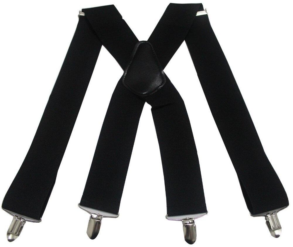 Hot Selling Men's Elastic Black X Cross Si Jia Strap 5cm Wide Stretch Suspenders 50mmbraces