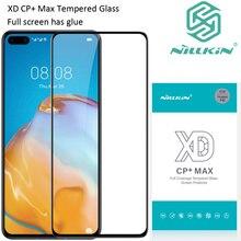 Nillkin xd cp + max vidro temperado para huawei p40 proteção oleophobic cola de tela cheia