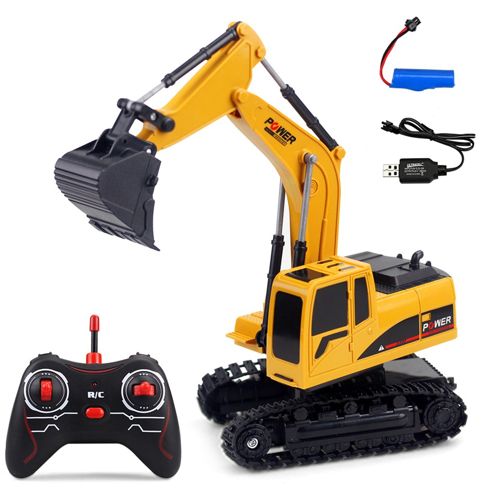 258-1 1/24 2.4G 6CH Multifunction 270 Degree Rotation Plastic Remote Control Excavator Simulation Engineering RC Car 3km/h