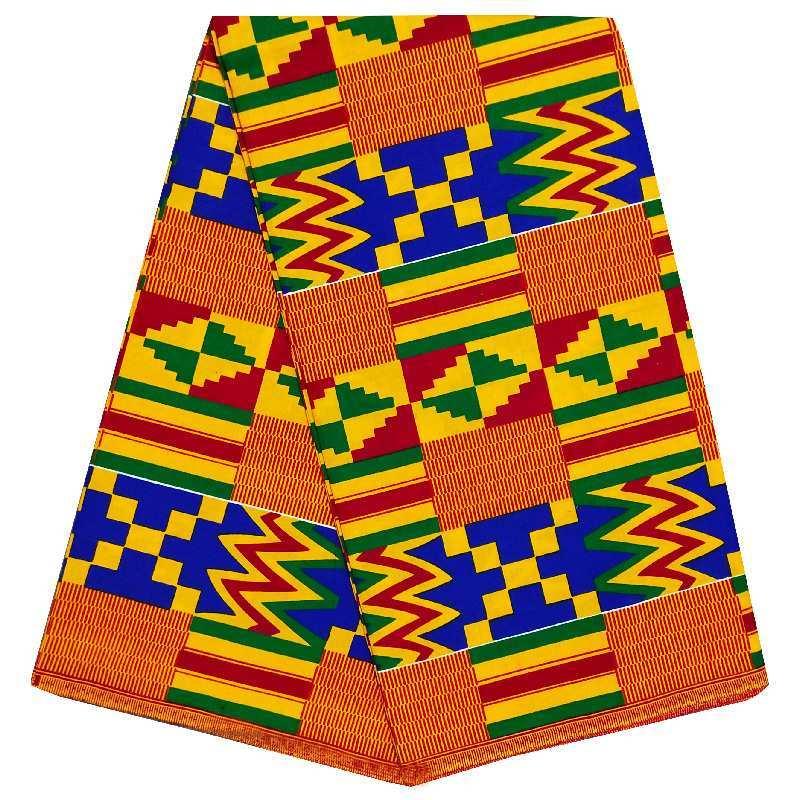 Tecido cera africano tecidos de kent 6 metros material de algodão africano estampas de cera de algodão gana ancara tecido cera para o vestido atacado