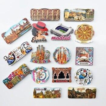 Souvenirs de visitas al mundo y a la ciudad de España, imanes de decoración para el frigorífico de Barcelona, Granada, Toledo, España