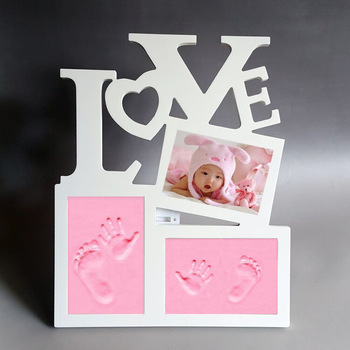 Nayachic Hot Sale Cute Baby Photo frame DIY handprint or footprint Soft Clay Safe Inkpad non toxic ceremony gift for baby