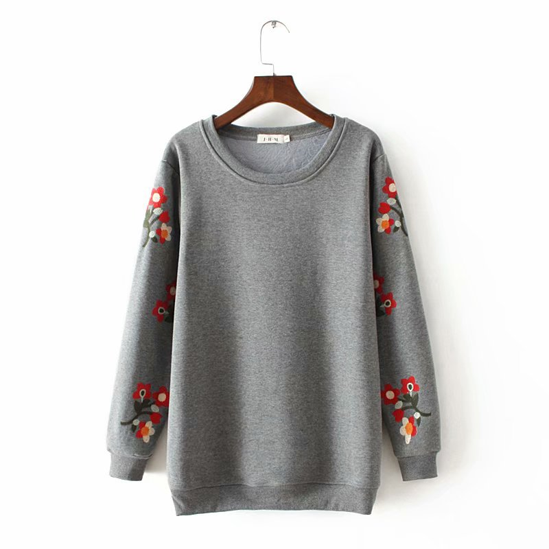 Plus Size XL - 4XL Winter Warm Long Sleeve Floral Embroidery Women Big Size Pullovers Hoodies Fleece Sweatshirt Oversized Hoodie