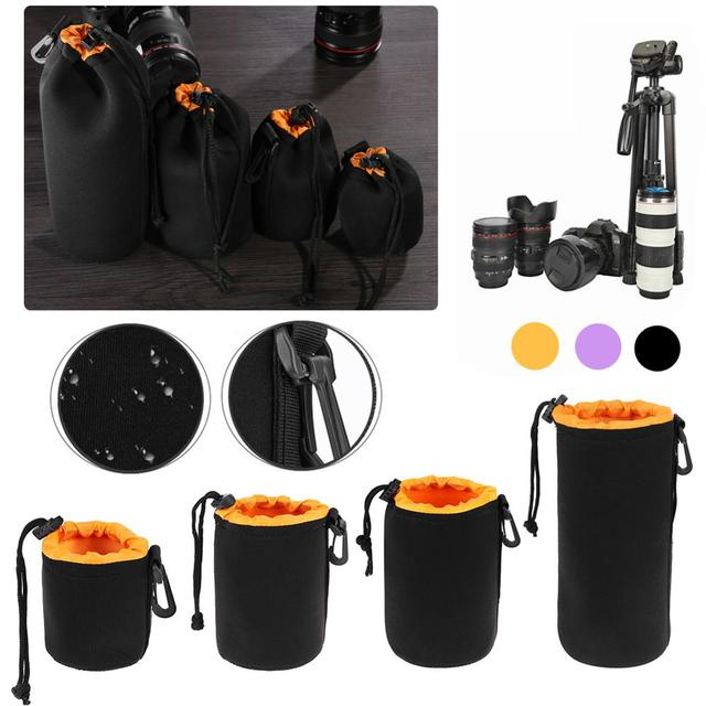 Waterproof Camera Lens Pouch Fleece Bag Soft Neoprene Drawstring Protector Case Portable Outdoor Travel Photo Camera Package