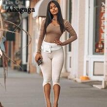 Ahagaga listra de malha feminina cintura alta passo pé calças na altura do joelho magro strenty fitness streetwear desportivo casual outono pant