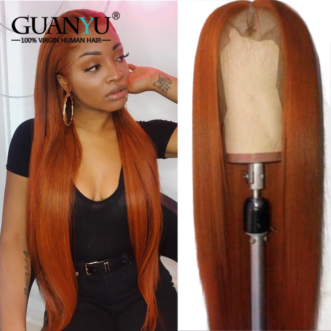 Orange Human Hair Wig 13X4 Brazilian Remy Straight Ombre Ginger Red Honey Blonde Brown Long Lace Front Wigs Pre Plucked