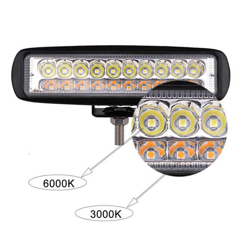 1PC 6'' 60W 6000LM Car LED Work Lights Bar Car Spotlight Driving Fog Lamp White & Amber Color Motorcycle Off-Road Truck ATV Jeep