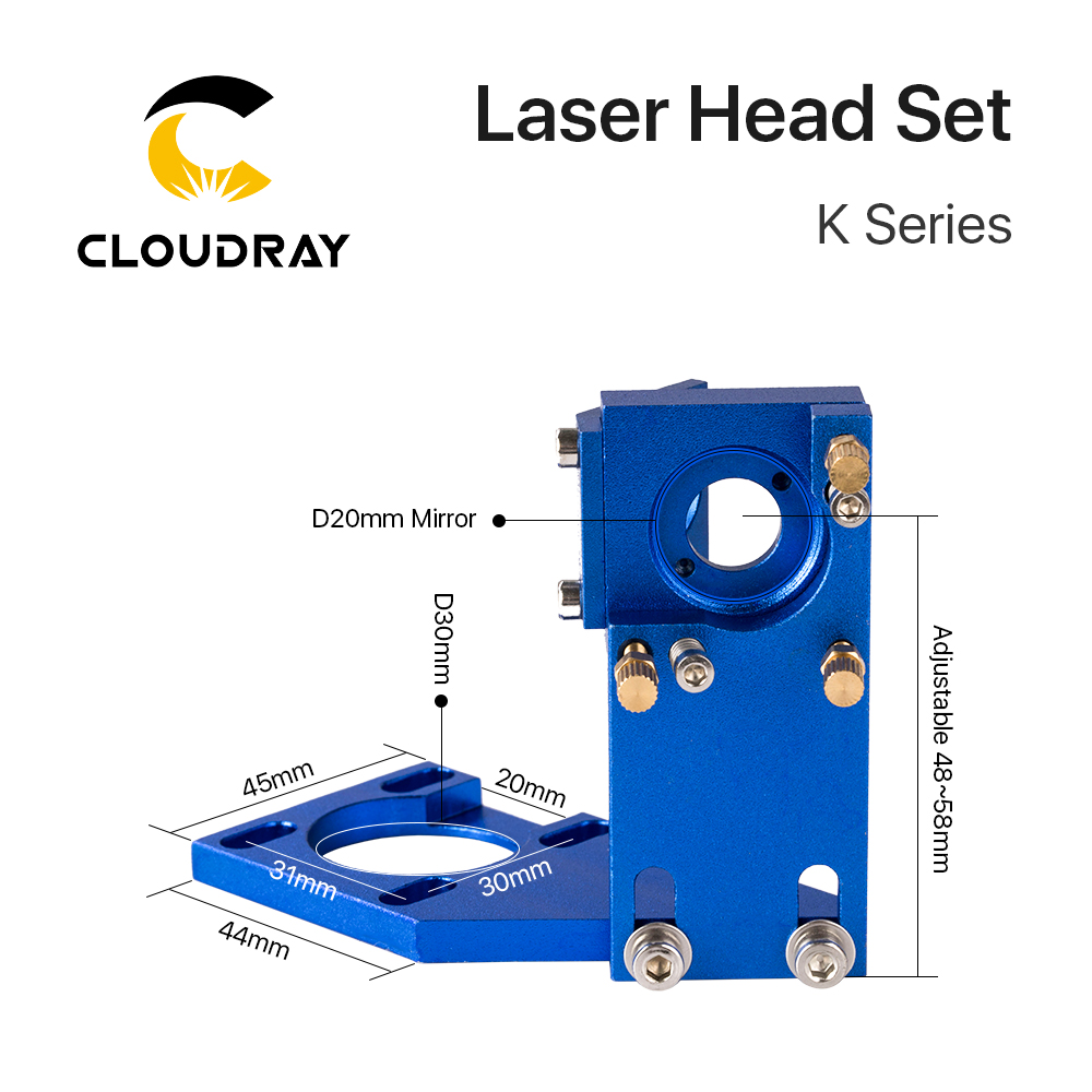 Cloudray K Series CO2 Laser Head Whole Set Incl focus lens D12 FL50.8 Mo mirrors for 2030 4060 k40 Laser engraving Cutting Machine