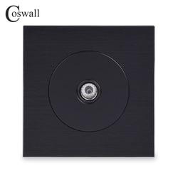 Coswall Luxuoso Feminino TV Jack Conector de Tv Da Tomada de Parede Painel De Alumínio Escovado Tomada Cavaleiro Negro R12 Series