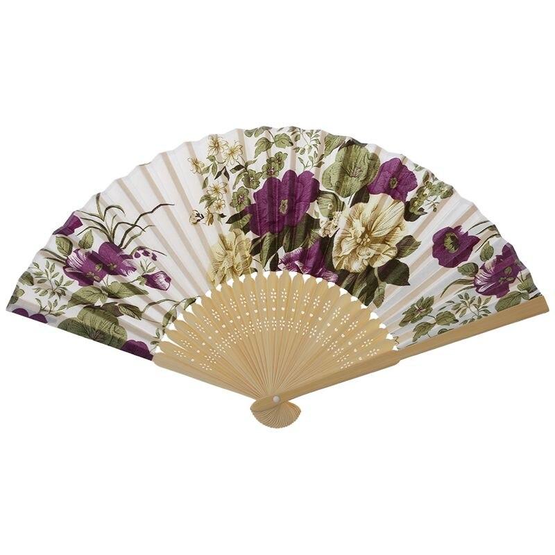 Promotion! Women's Summer Wedding Floral Pattern Fabric Folding Hand Fan White Purple