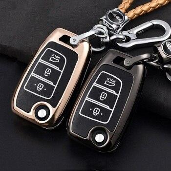 Zinc Alloy Luminous Car Key Case For Hyundai Santa FeTM 2019 I30 Solaris 2016-2018 Azera Elantra Grandeur Accent AutoAccessories