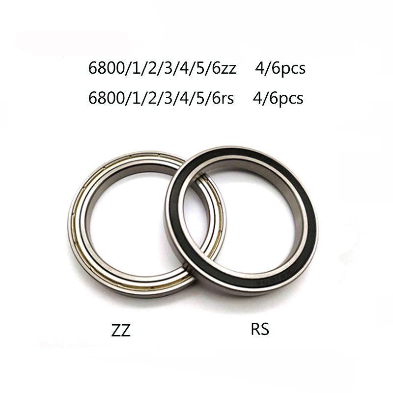 4/6pcs 6800 6801 <font><b>6802</b></font> 6803 6804 6805 6806 <font><b>2RS</b></font> RS ZZ 2Z Rubber Sealed Steel Cover Deep Groove Ball Bearing Miniature Bearing image