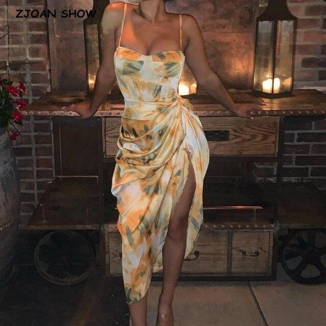 2020 Women Vintage Yellow Tie dye Flower print  Spaghetti Strap Dress Hem Slim Waist Slit Irregular Long Dresses Sling Vestido 2