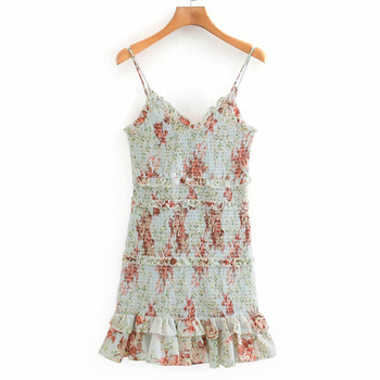 Elegant ZA Women Vintage Floral Mini Dress Chic Ruffle Neckline Sleeveless thin Straps Lady Fashion Flounced Hem pleated Dresses cartoon goose print ruffle hem cami dress