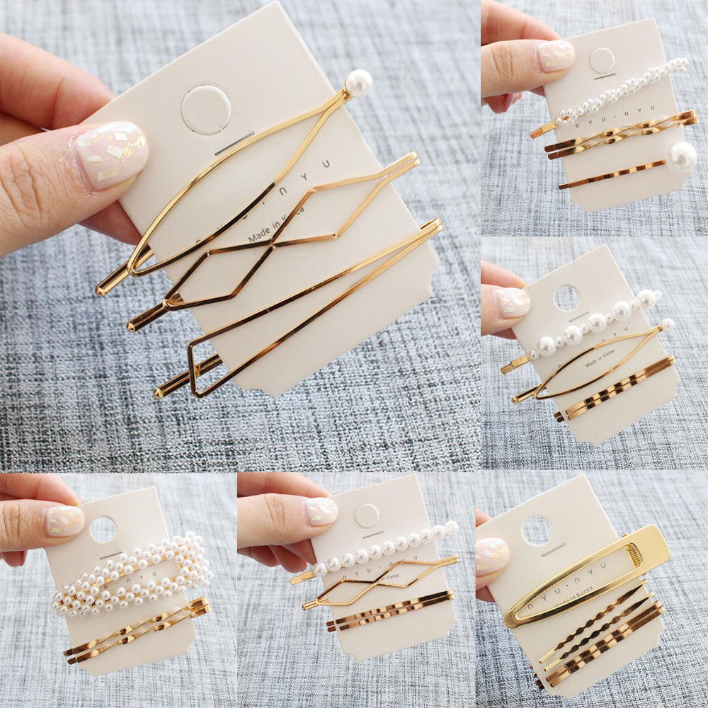 Korean Style 3Pcs/Set Pearl Metal Women Girls Hair Clip Bobby Pin Barrette Hairpin Beauty Hair Styling Tools Hair Accessories