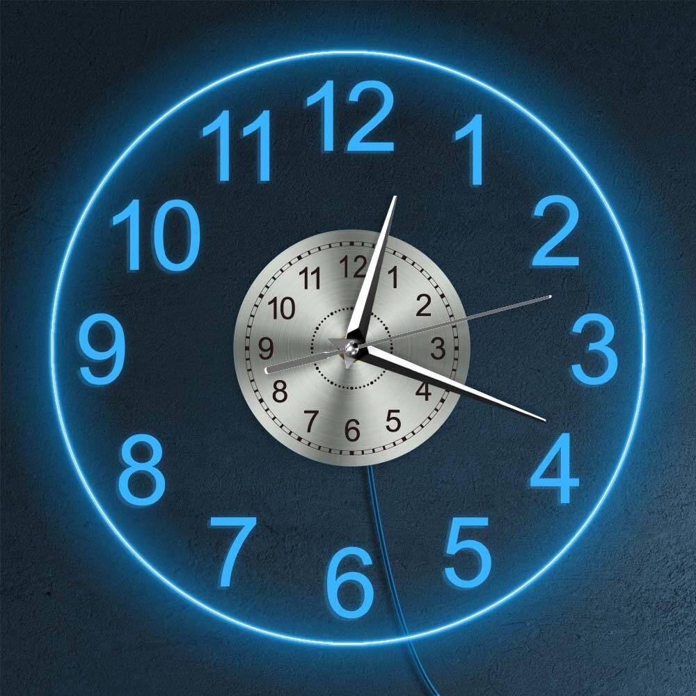 relógio decoração da casa luz da noite horologe