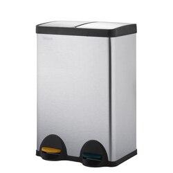 Velaze 60L Edelstahl Fuß Pedal Mülleimer mit Doppel Fächer Premium Metall Deckel Mülleimer für Küche Haus Abfall
