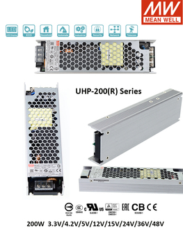 Original MEAN WELL UHP-200 LED Industrial 12V Switching Power Supply Meanwell 24V 3.3V 4.2V 5V 12V 15V 24V 36V 48V PFC DC OK