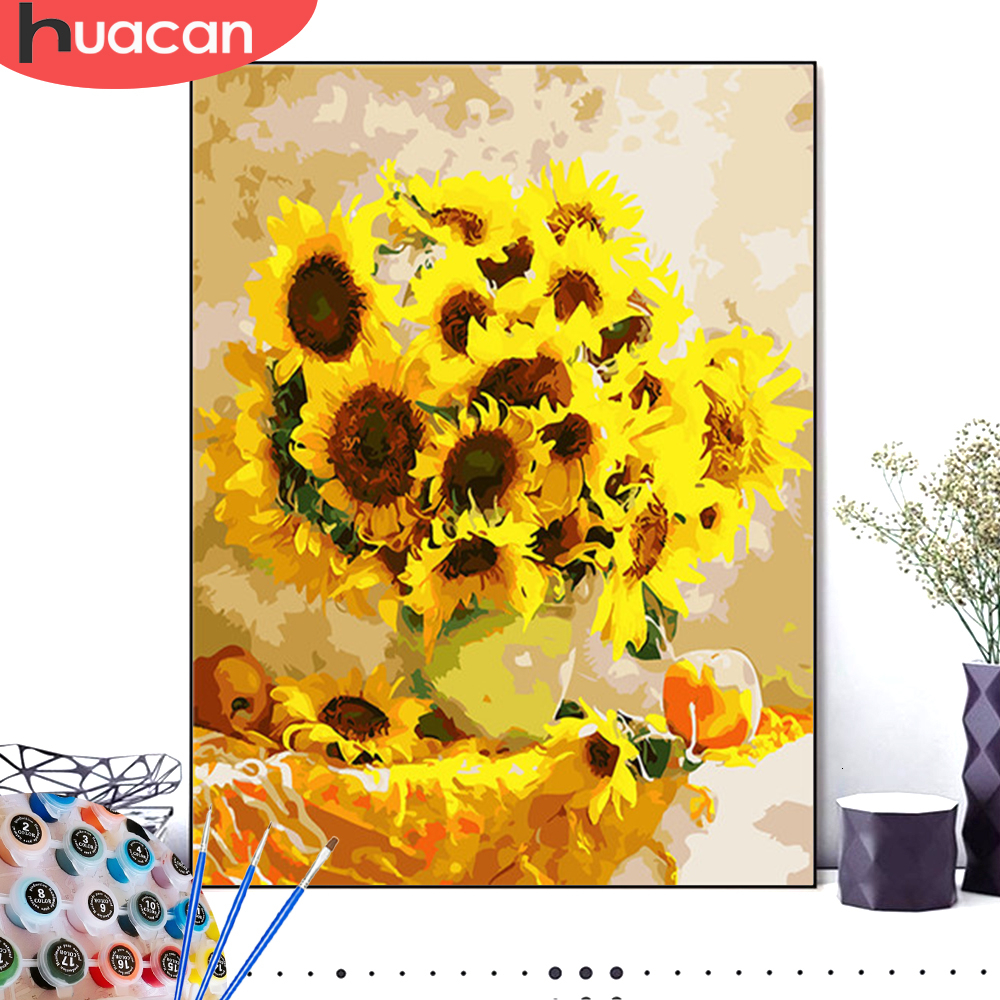 HUACAN Pictures By Numbers Sunflowers HandPainted Drawing Canvas Oil Painting Kits DIY Coloring Home Decoration Gift