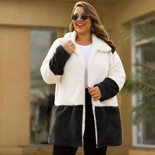 XL-4XL Autumn Winter Big Size Soft Velvet Coats Cardigan Casual Large size Women Loose Cardigans Jacket Plus Long Warm Coat