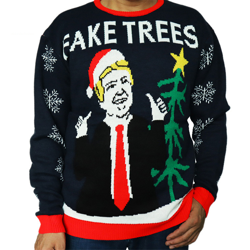 Funny Knitted Fake Trees Donald Trump Ugly Christmas Sweater for Men Cute Knit Xmas Party Pullover Ugly Christmas Jumper
