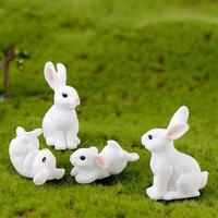 Mini coelho fofo de família animal, modelo de animal, presente artesanal, decoração de bonsai, personagem em miniatura, ornamento de casa, jardim diy, decoração de páscoa, 1 peça