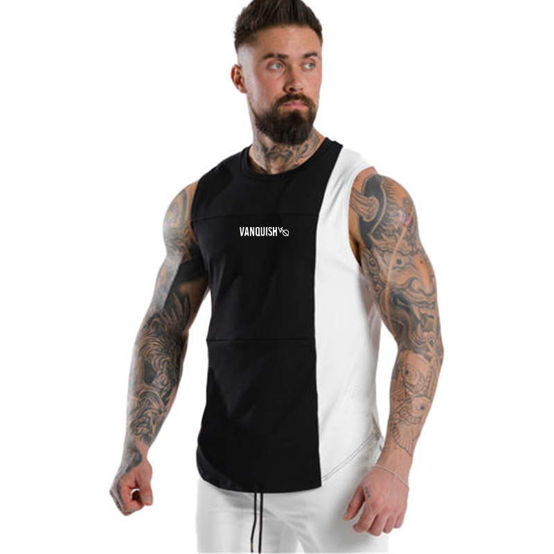 Summer Fitness Men's Casual Sports Vest Printing Black and White Stitching Running Basketball Breathable Top Running Vest