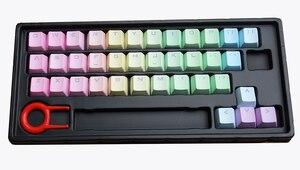 Image 5 - 37 клавишные колпачки для ключей с буквами алфавита, сменные колпачки для ключей, тяжелый окрашенный Радужный профиль OEM PBT, двухсторонний прозрачный колпачок для ключей