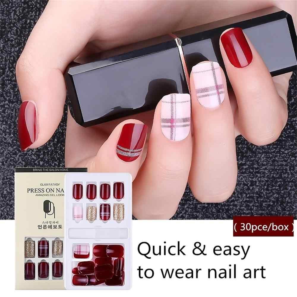 Горячая Распродажа, новинка, 30 шт., акриловые накладные ногти, съемная многоразовая палочка для ногтей, нажмите на полное покрытие, накладные ногти, поделки, инструменты