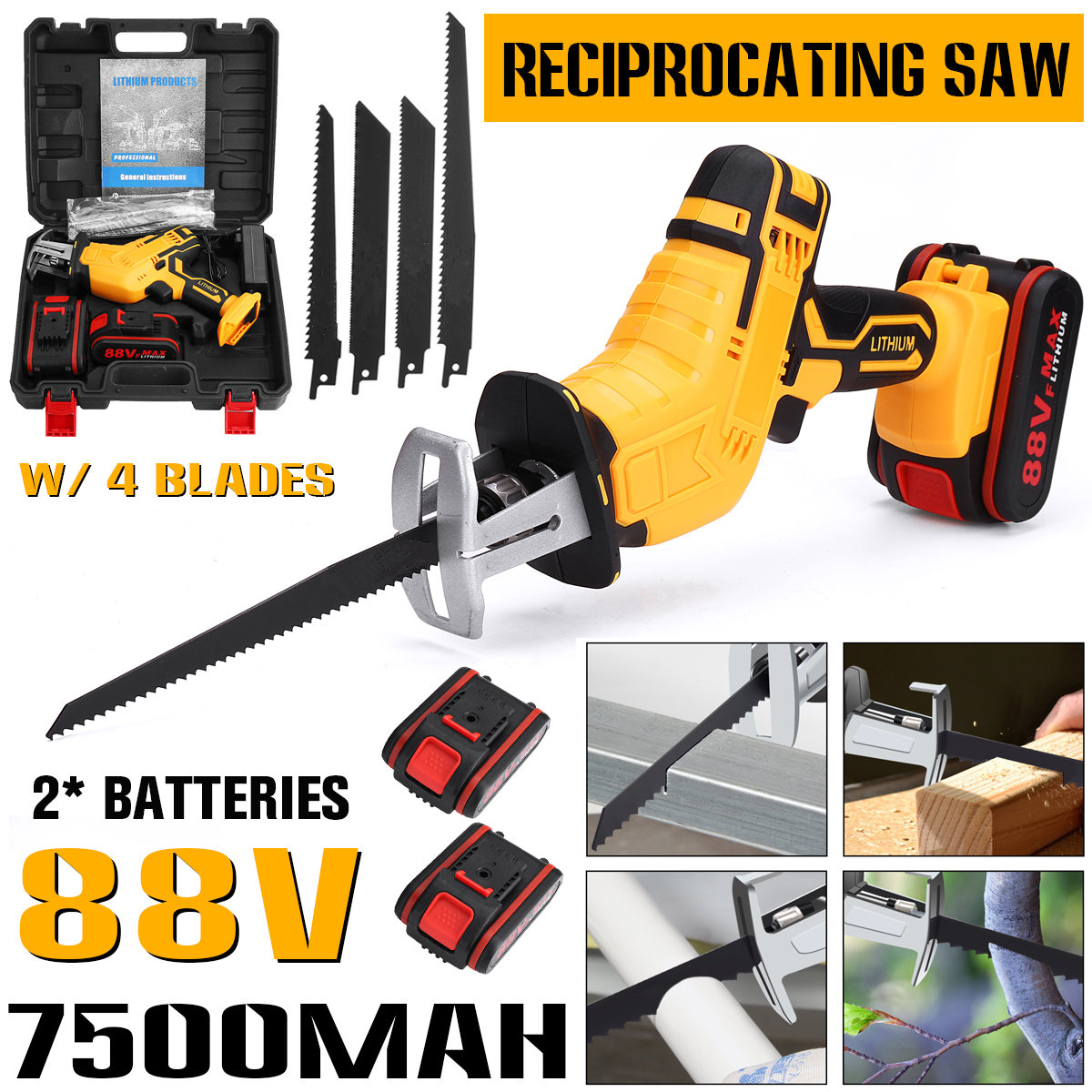 88V Rechargeable Cordless Reciprocating Saw 4 Blades Metal Cutting Woodworking Tool Kit with 1 2 Li-ion Battery Prunning Saw