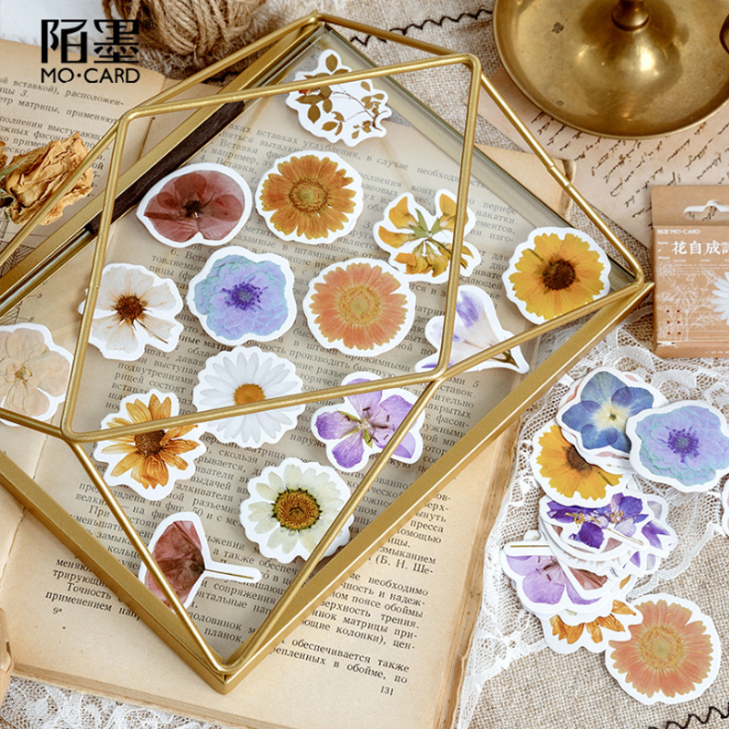 46pcs/box Lovely Flower Poem  Diary Stickers Scrapbooking For Decoration Album Diary Children Stationery