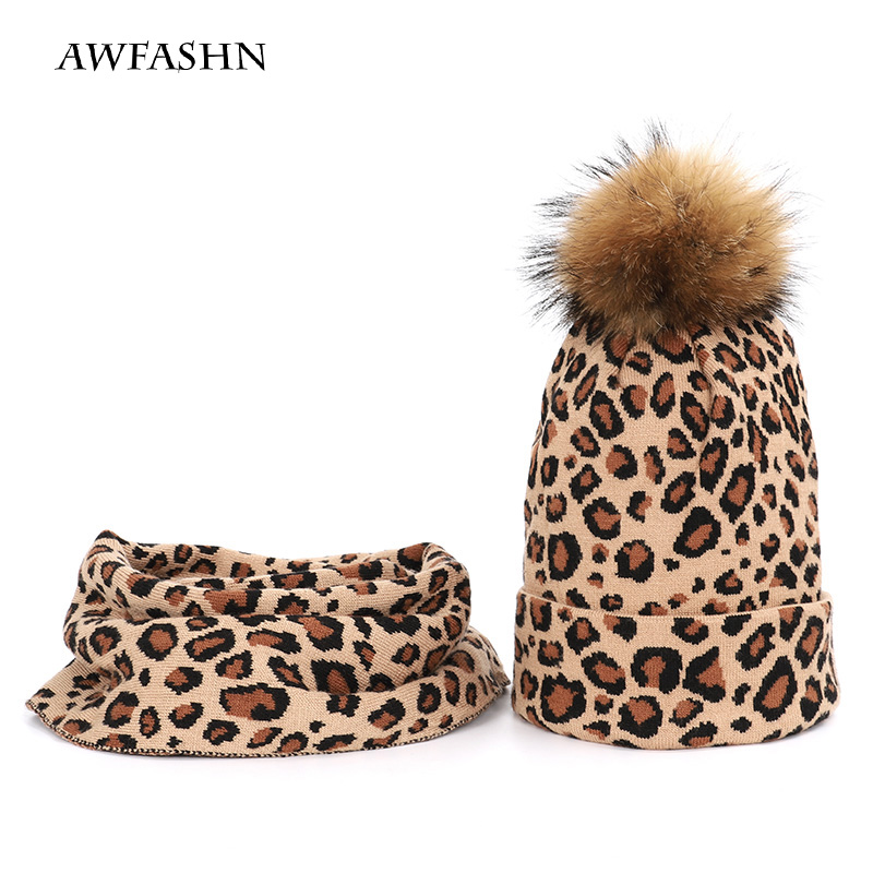 Winter Fashion Retro Ladies Raccoon Fur Pompom Knit Beanie Hat Scarf Sets Women Thick Warm Soft Cap Female Bonnet Cotton  Beanie