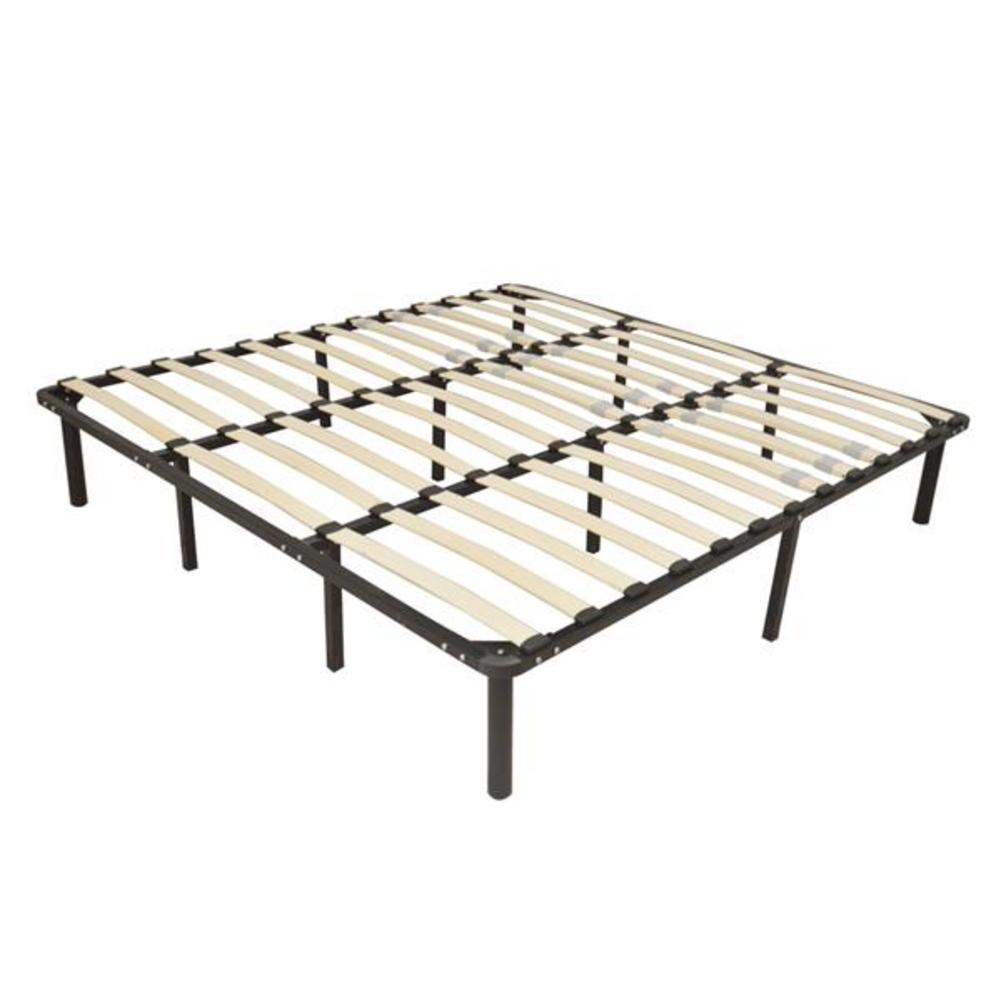 79*75*14 Wooden Bed Slat And Metal Iron Stand King Size Iron Bed Black Color