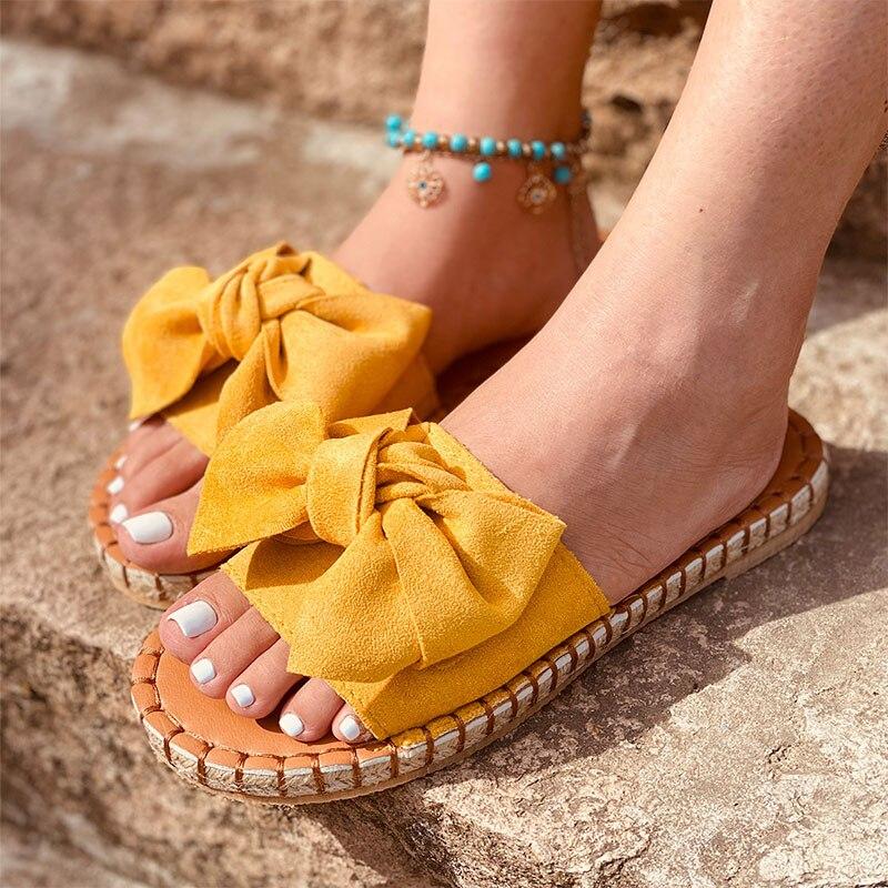 Verão feminino bowknot chinelos sandálias sapatos casuais das senhoras moda nova sapato plataforma feminina apartamentos praia slides mais tamanho calçado