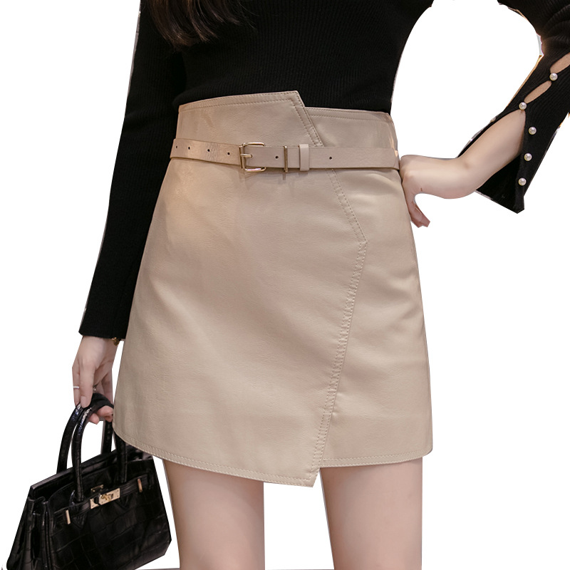 Korean-style Versitile Fashion Leather Skirt Women's 2019 New Style Anti-Exposure PU Leather Skirt High-waisted Sheath Short Ski