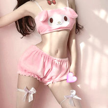 Anime Melody Kwaii Velvet Tube Top Panties Set Adorable Underwear Long Ear Doggy Cute Bra Bloomers Sexy Lingerie For Girls Women