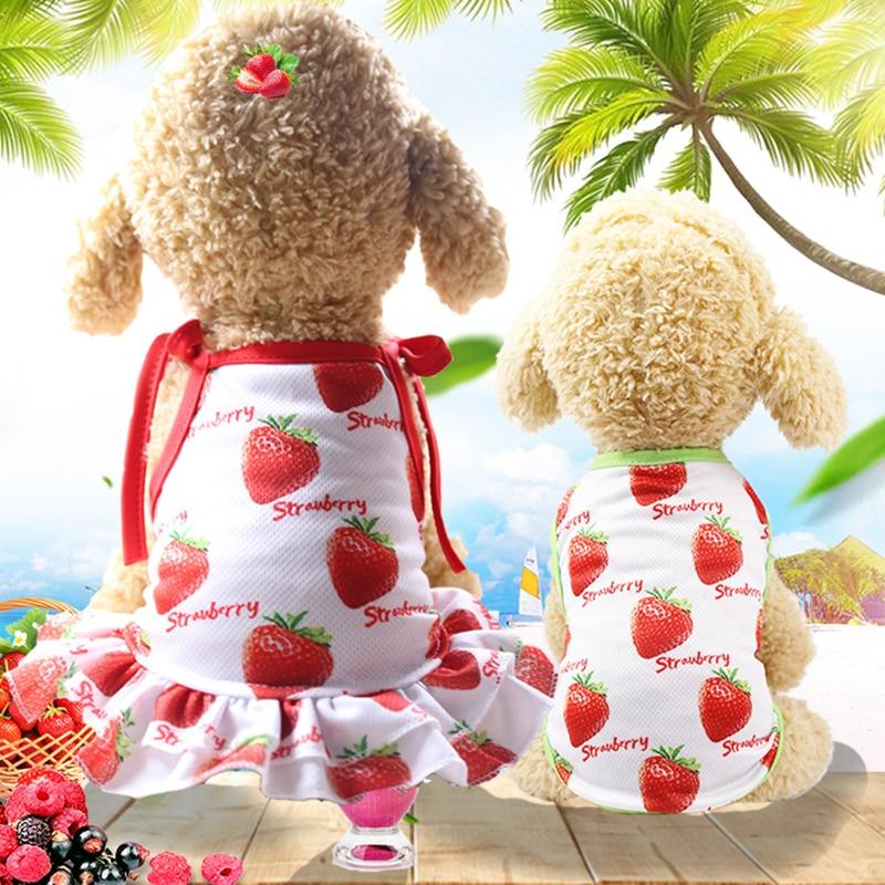 Cotton Skirt Pet Clothes Cute Fruit Pattern Dress T-shirts Lovers Suit Small Medium Cat Dog Clothes Pet Supplies Dropshopping
