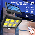 160 COB уличные фонари на солнечной батарее, наружное охранное освещение, настенный светильник, водонепроницаемая светодиодная лампа с датчик...