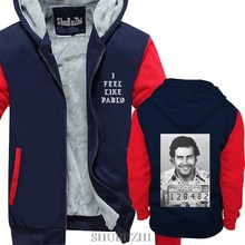 mens winter warm hoodies thick fleece coat gangster, Pablo escobar man Casual Brand Tracksuit warm coat euro size(China)