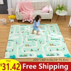 180X200CM bebé Mat 1CM de espesor de dibujos animados XPE tapete para juegos de niños plegable antideslizante alfombra de juego de los niños Mat
