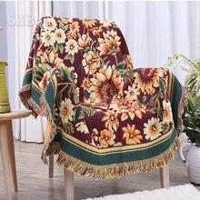 Estilo americano amarillo floral tejido sofá toalla algodón sofá silla manta antideslizante funda de sofá clásico uso lateral SP3763