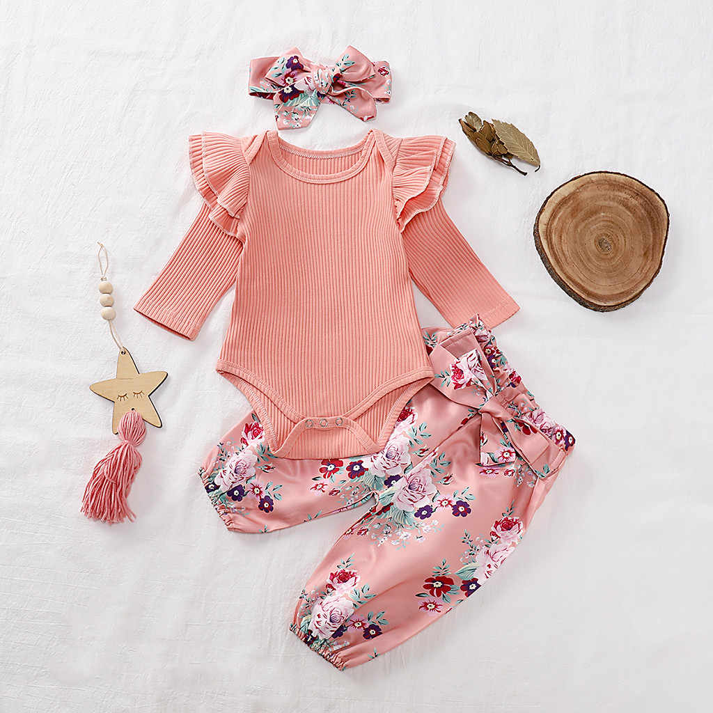2019 Autumn Infant Baby Girls Clothes Newborn Ruffles Solid Romper +Floral Pants+Headband 3Pcs Outfits New Born Clothing Set