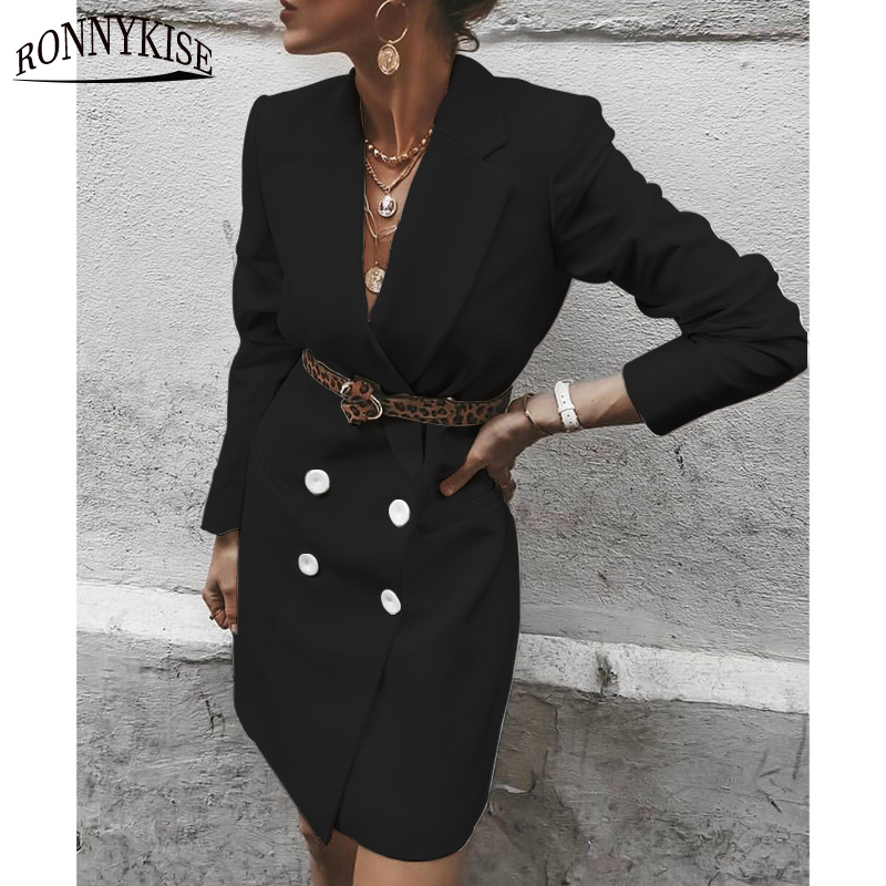 RONNYKISE Business Suit Women Fashion Versatile Long Blazer One Piece Double Breasted Slim Fit Ladies Clothes (Without Belt)