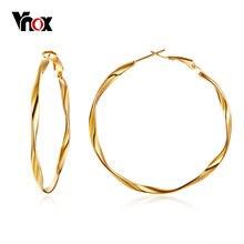 Vnox-pendientes de aro grande para mujer, aretes circulares de acero inoxidable, pendiente dorado, joyería femenina