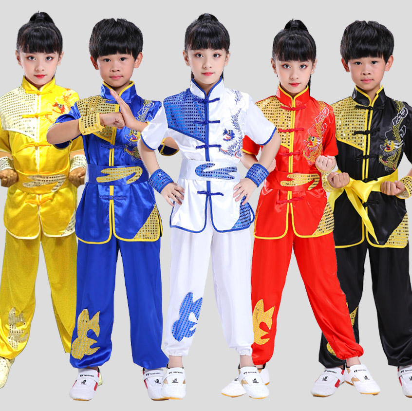 2019 Chinese Wushu Uniform Kungfu Clothes Martial Arts Suit Paillette Embroidery Outfit Changquan Costume For Girl Boy Kids